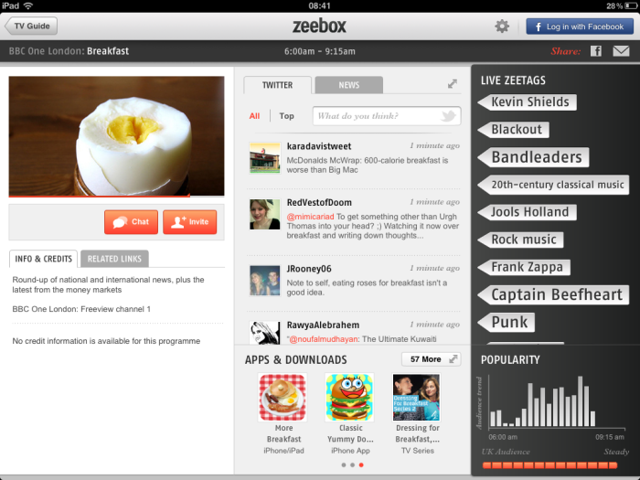 Zeebox screen grab